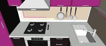 illustrazione 3d dell'angolo porpora e marrone della cucina con gli apparecchi Fotografia Stock