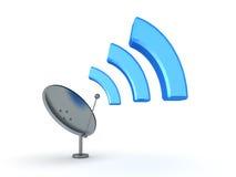 illustrazione 3D dell'antenna che emette il segnale di Wi-Fi Fotografia Stock Libera da Diritti