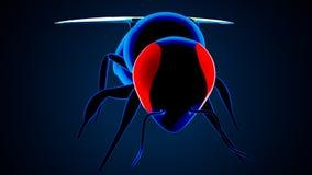 illustrazione 3d dell'ape del miele isolata su fondo blu illustrazione vettoriale