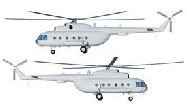 illustrazione 3d dell'elicottero MI 8 Modello facade Vista frontale illustrazione vettoriale