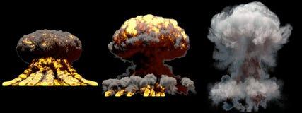 illustrazione 3D dell'esplosione - esplosione differente del fungo atomico del fuoco di 3 grande fasi della bomba nucleare con fu royalty illustrazione gratis