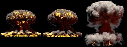 illustrazione 3D dell'esplosione - esplosione differente del fungo atomico del fuoco di 3 grande fasi della bomba termonucleare c royalty illustrazione gratis