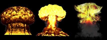illustrazione 3D dell'esplosione - esplosione differente dettagliata del fungo atomico di 3 fasi di grande livello della bomba di illustrazione vettoriale
