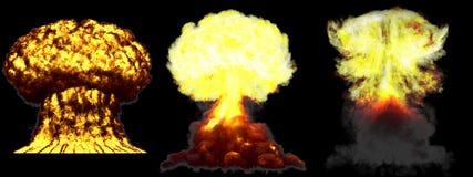 illustrazione 3D dell'esplosione - esplosione differente dettagliata del fungo atomico di 3 fasi di grande livello della bomba at illustrazione vettoriale