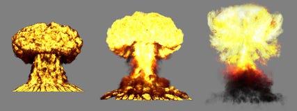 illustrazione 3D dell'esplosione - esplosione differente molto altamente dettagliata del fungo atomico di 3 grande fasi della bom illustrazione vettoriale