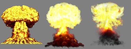 illustrazione 3D dell'esplosione - esplosione differente molto dettagliata del fungo atomico di 3 grande fasi della bomba nuclear illustrazione vettoriale