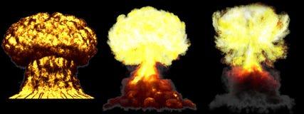 illustrazione 3D dell'esplosione - esplosione differente molto dettagliata enorme del fungo atomico di 3 fasi della bomba atomica illustrazione vettoriale
