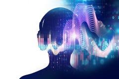 illustrazione 3d dell'essere umano con la cuffia sull'audio abstra di forma d'onda Fotografia Stock