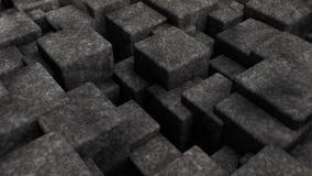 illustrazione 3D dell'estratto, fondo futuristico di molti cubi differenti di dimensione rappresentazione 3d delle forme geometri illustrazione di stock