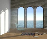 illustrazione 3D dell'interno con tre grandi finestre incurvate Immagine Stock