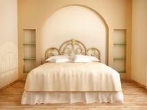 illustrazione 3d dell'interno della camera da letto nei toni beige morbidi Fotografie Stock Libere da Diritti