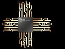 illustrazione 3d dell'unità dell'unità centrale di elaborazione del chip del CPU con i contatti Immagini Stock Libere da Diritti