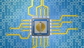 illustrazione 3d dell'unità di elaborazione sopra fondo digitale con la chiave Immagine Stock Libera da Diritti