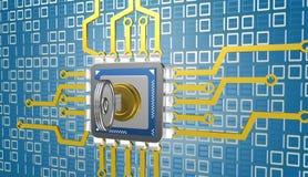 illustrazione 3d dell'unità di elaborazione sopra fondo digitale con la chiave Immagini Stock Libere da Diritti