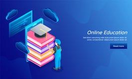 illustrazione 3D dell'uomo che immagazzina online che impara i dati per E-Learni Illustrazione di Stock