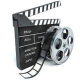 illustrazione 3d della bobina di applauso e di film del cinema, sopra bianco royalty illustrazione gratis