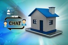 illustrazione 3d della casa con lo Smart Phone Immagine Stock Libera da Diritti