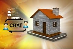 illustrazione 3d della casa con lo Smart Phone Fotografie Stock Libere da Diritti