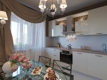 illustrazione 3D della cucina con le facciate beige e della mobilia dal pezzo fucinato Immagini Stock