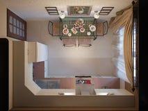illustrazione 3D della cucina con le facciate beige e della mobilia dal pezzo fucinato Fotografie Stock