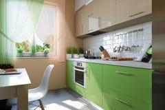 illustrazione 3D della cucina con le facciate beige e verdi Immagine Stock