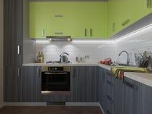 illustrazione 3D della cucina con le facciate di legno e verdi Immagine Stock Libera da Diritti