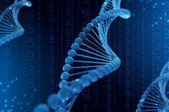 illustrazione 3d della molecola del DNA La molecola blu elicoidale di un nucleotide nell'organismo come in spazio illustrazione vettoriale