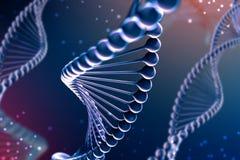 illustrazione 3d della molecola del DNA La molecola blu elicoidale di un nucleotide nell'organismo come in spazio Genoma di conce illustrazione vettoriale