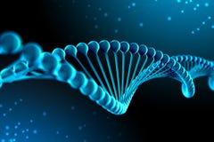 illustrazione 3d della molecola del DNA La molecola elicoidale di un nucleotide nell'ambiente dell'organismo come in spazio illustrazione di stock