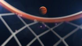 illustrazione 3D della palla di pallacanestro che cade in un cerchio Fotografie Stock Libere da Diritti