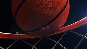 illustrazione 3D della palla di pallacanestro che cade in un cerchio Fotografia Stock Libera da Diritti