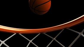illustrazione 3D della palla di pallacanestro che cade in un cerchio Immagini Stock Libere da Diritti