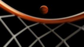 illustrazione 3D della palla di pallacanestro che cade in un cerchio Fotografie Stock