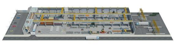 illustrazione 3D della pianta su pittura del konstruktion di ingegneria Immagini Stock Libere da Diritti