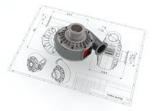 illustrazione 3D della pompa di turbo Fotografia Stock