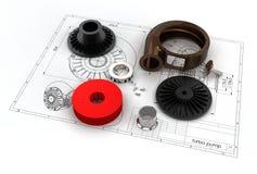 illustrazione 3D della pompa di turbo Fotografie Stock Libere da Diritti