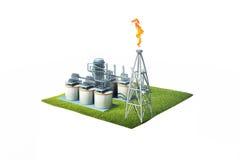 illustrazione 3d della raffineria di petrolio di vista aerea Fotografia Stock Libera da Diritti