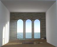 illustrazione 3D della stanza di sogno con la grande finestra di panorama tre Immagini Stock