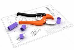 illustrazione 3d della taglierina di tubo Fotografia Stock