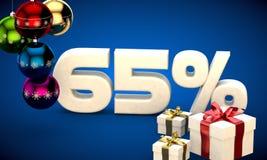 illustrazione 3d della vendita di Natale uno sconto di 65 per cento Fotografia Stock Libera da Diritti