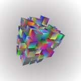 illustrazione 3d delle forme geometriche di base Una matrice dei cubi dell'arcobaleno su un fondo leggero royalty illustrazione gratis