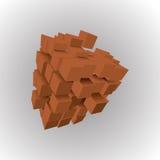 illustrazione 3d delle forme geometriche di base Una matrice dei cubi marroni su un fondo leggero illustrazione di stock