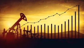 illustrazione 3d delle prese della pompa di olio sul fondo del cielo di tramonto Concetto dei prezzi del petrolio crescenti Fotografia Stock Libera da Diritti