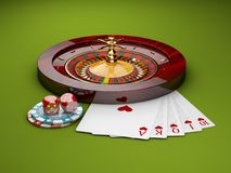 illustrazione 3d delle roulette del casinò con i dadi, i chip di poker e le carte del gioco, fondo verde Fotografie Stock Libere da Diritti