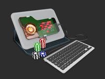 illustrazione 3d delle roulette di Smartphone con il keyboabrd ed i chip Fotografie Stock