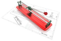 illustrazione 3D delle tagliapiastrelle Fotografie Stock Libere da Diritti