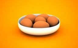 illustrazione 3d delle uova su un piatto bianco Fotografie Stock