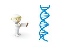 illustrazione 3D dello scienziato che prende le note dalla doppia elica del DNA Immagini Stock Libere da Diritti