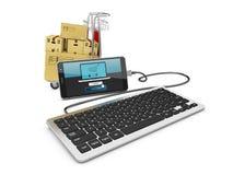 illustrazione 3d dello Smart Phone con il carrello e la tastiera di acquisto Fotografie Stock Libere da Diritti