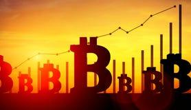 illustrazione 3d di bitcoin con i grafici crescenti su fondo Fotografia Stock Libera da Diritti